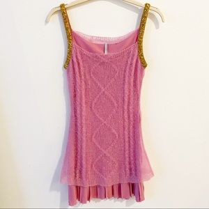 Iisle Pink and Gold Cable Knit Dress with Sequins